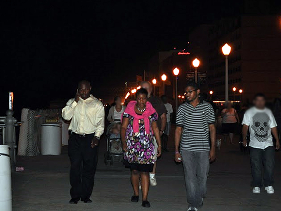 Me walking down the boardwalk with my brother and sister.