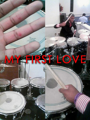 Drumset...camera phone...church...voila. I'm really not that great on the sticks though. Seriously...